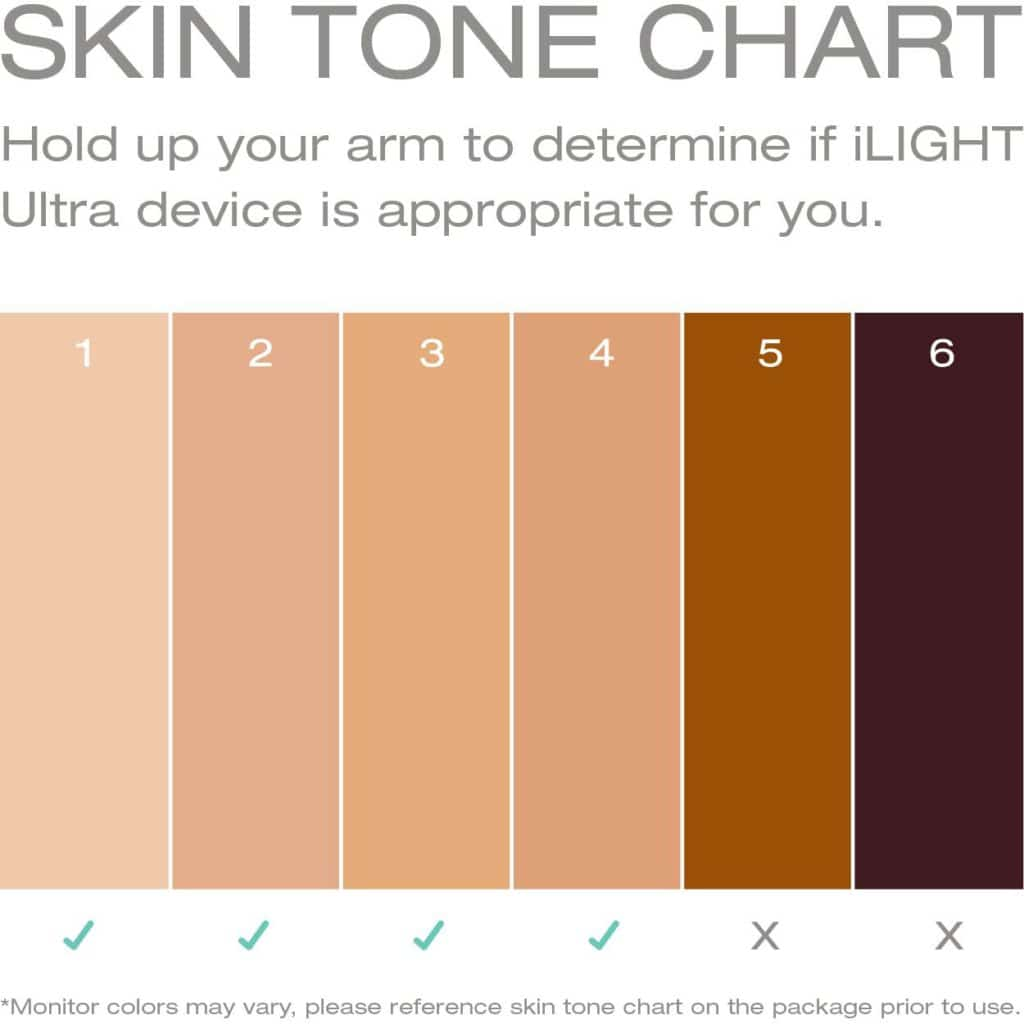 skin tone chart for remington ilight devices