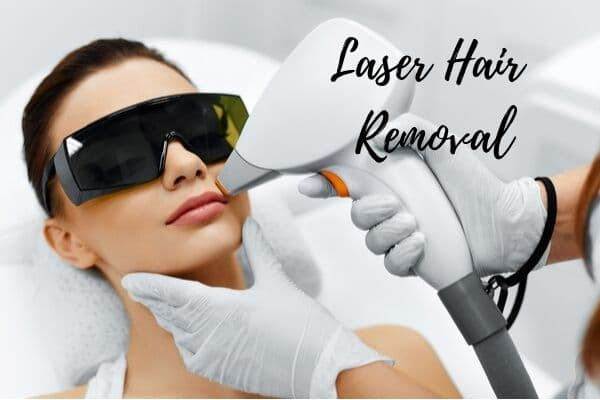 woman receiving laser hair removal at a salon