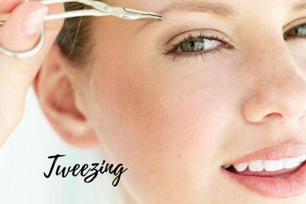 tweezing facial hair